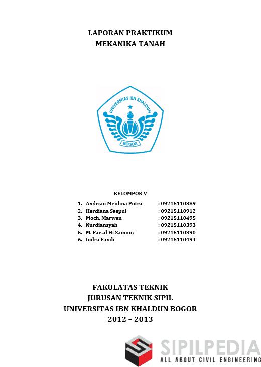 Laporan praktikum mekanika tanah sipilpedia penulis ccuart Image collections