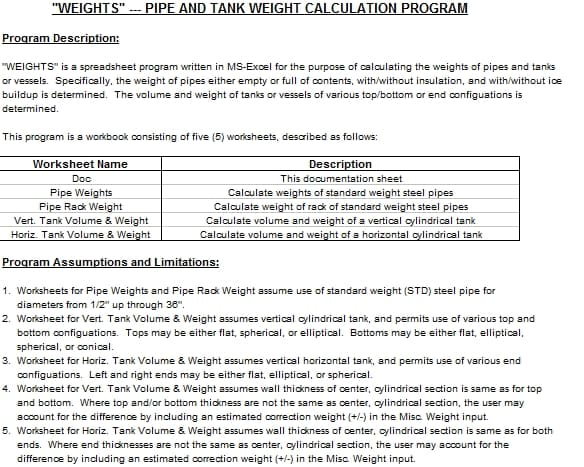 "WEIGHTS"" PIPE AND TANK WEIGHT CALCULATION PROGRAM 