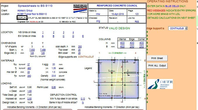 SIMPLIFIED FLAT SLAB DESIGN to BS 8110:1997 Cl 3 7 2 7