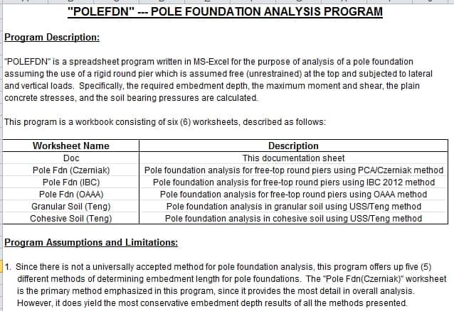 "POLEFDN"" — POLE FOUNDATION ANALYSIS PROGRAM   Sipilpedia"