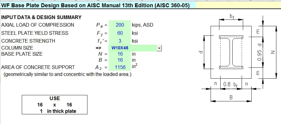 Wf Base Plate Design Based On Aisc Manual 13th Edition